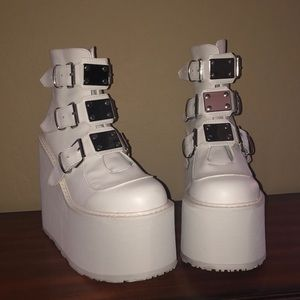 Icy White Low Top Buckle Platforms